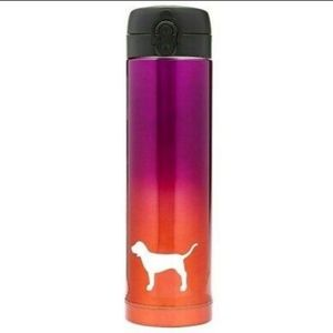 VS Pink ombre dog thermos NWT